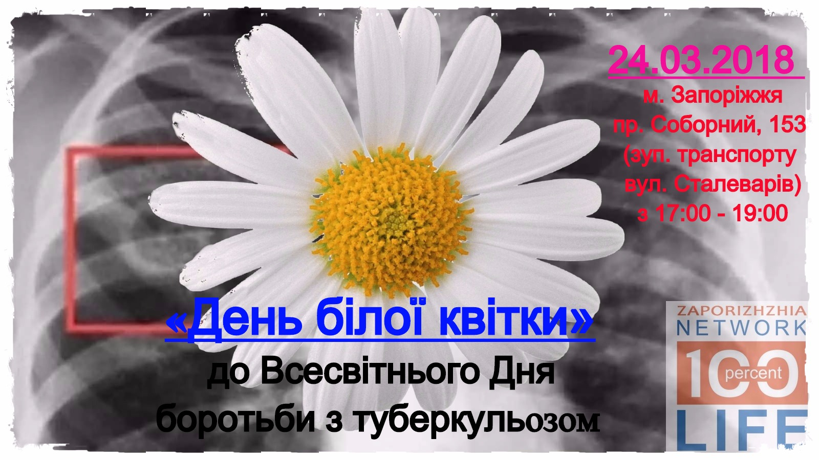 У Запоріжжі пройдуть заходи до Всесвітнього Дня боротьби з туберкульозом під назвою «День білої квітки»